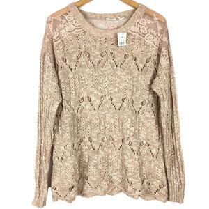 Bohemian lace crochet knit long sleeve sweater top
